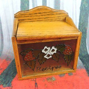 Other - Vintage Wood Recipe Box  Stained Glass Front